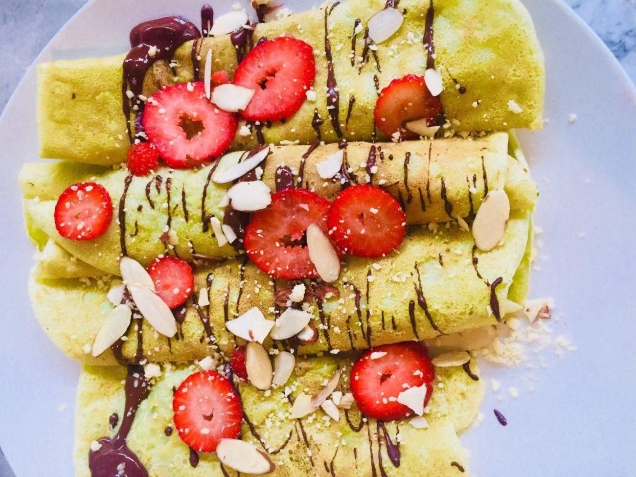 Vegan Chocolate Strawberry/Banana crepe recipe (No Sugar, No Oil)