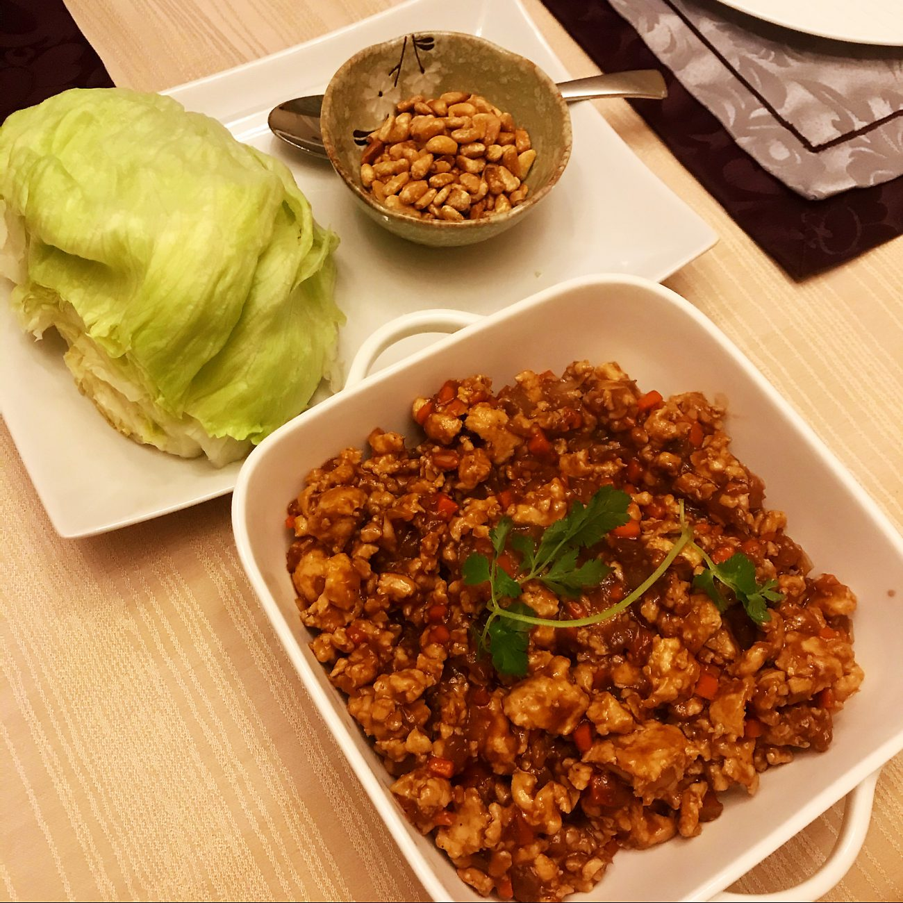 Chicken and Pine nut Lettuce Wraps