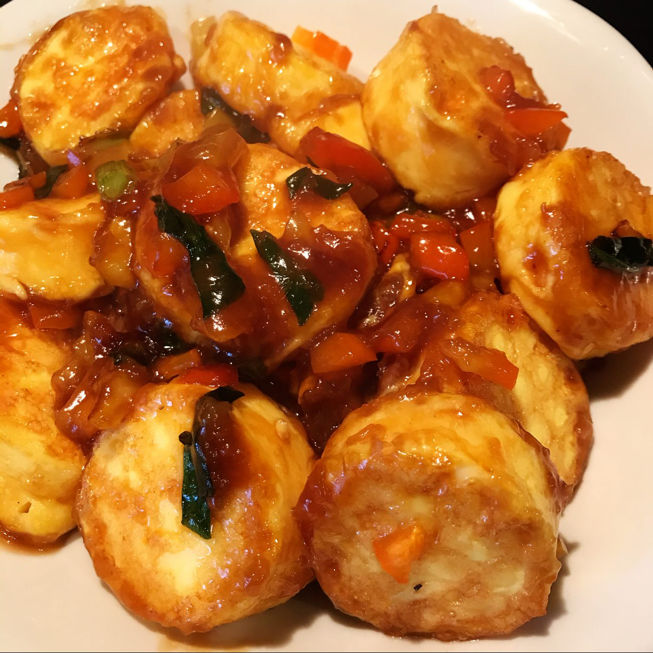 Japanese egg tofu cooked with oyster sauce