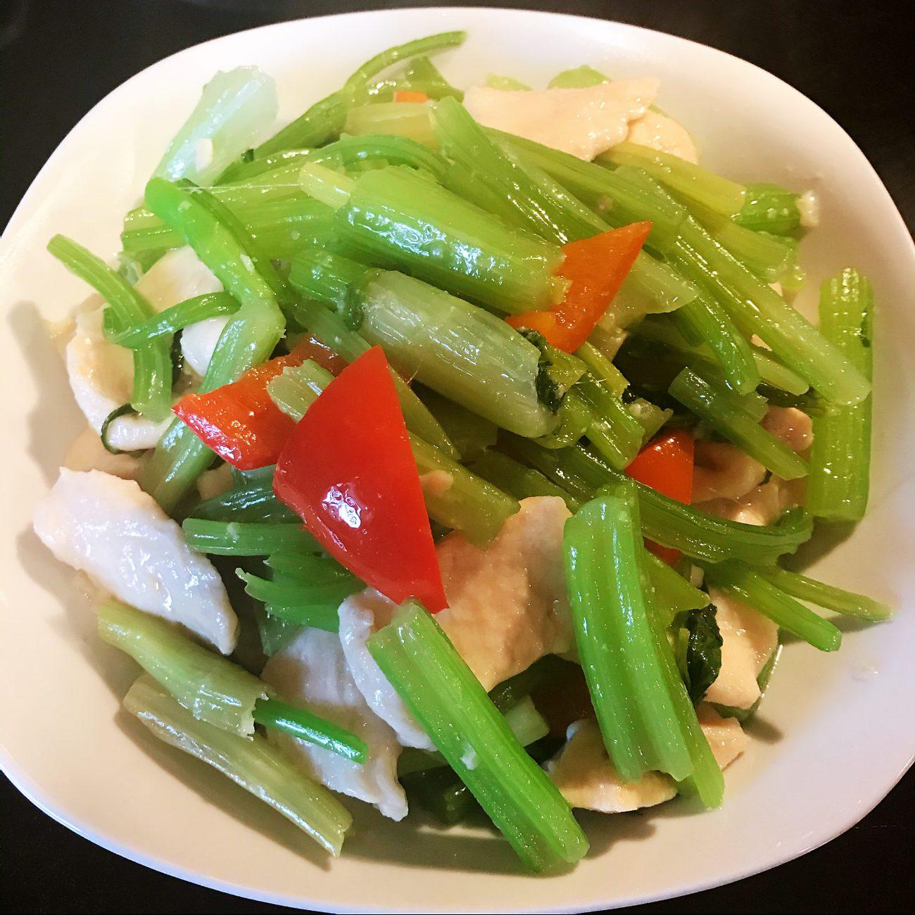Chicken tenderloin grilled celery