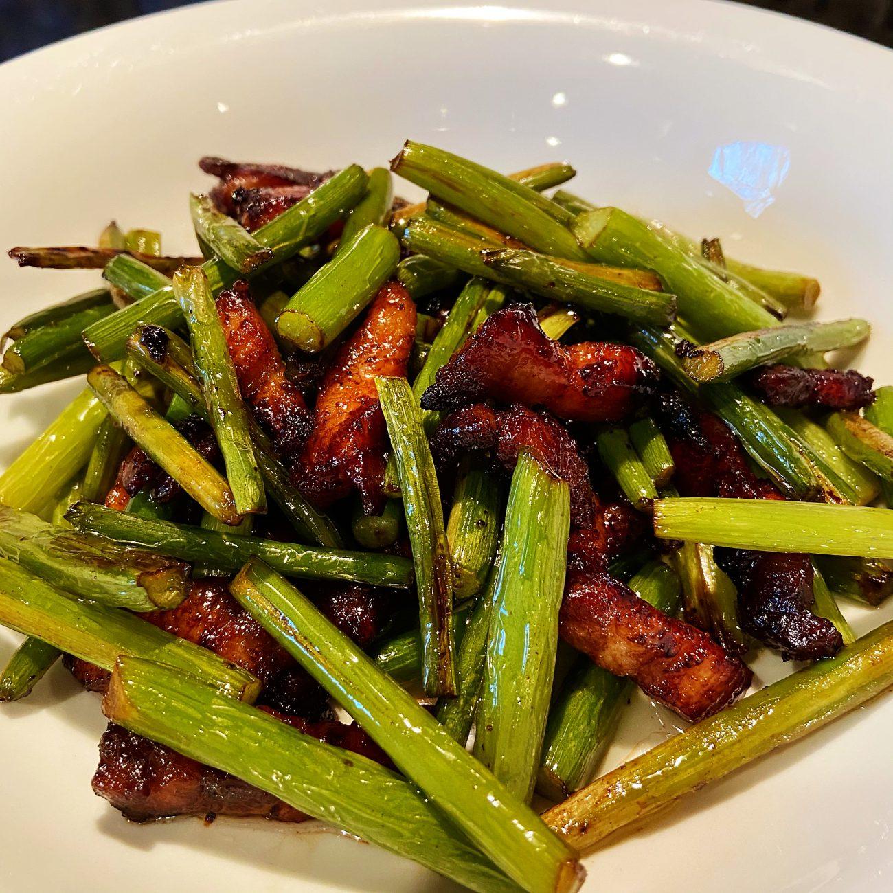 Grilled Garlic Stem with Pork Belly