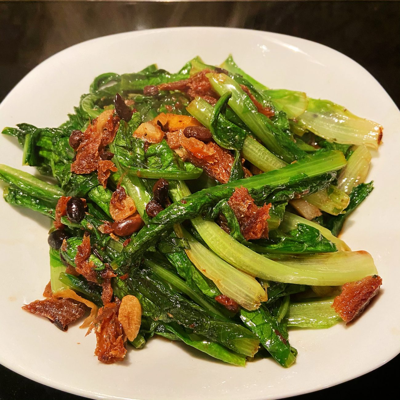 A Choy with Fried Dace with Salted Black Bean in Oil